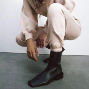 Zara low heeled square toe boots